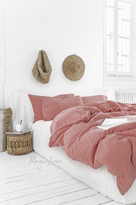 Linen Duvet Cover In Rust Pink Color Washed Linen Bedding Etsy Pink Bed Sheets Bed Linen Sets Bed Linens Luxury