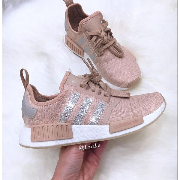 Adidas Nmd r1 Tan Customized With Swarovski Xirius Rose-Cut Crystals. (860 ILS) ❤ liked on Polyvore featuring shoes, silver, sneakers & athletic shoes, women's shoes, tan shoes, polish shoes, logo shoes and shiny shoes