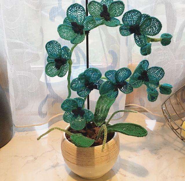 Crocheted orchid (blue) II. #crochet #orchid #madebyme #puppets #handmadeart