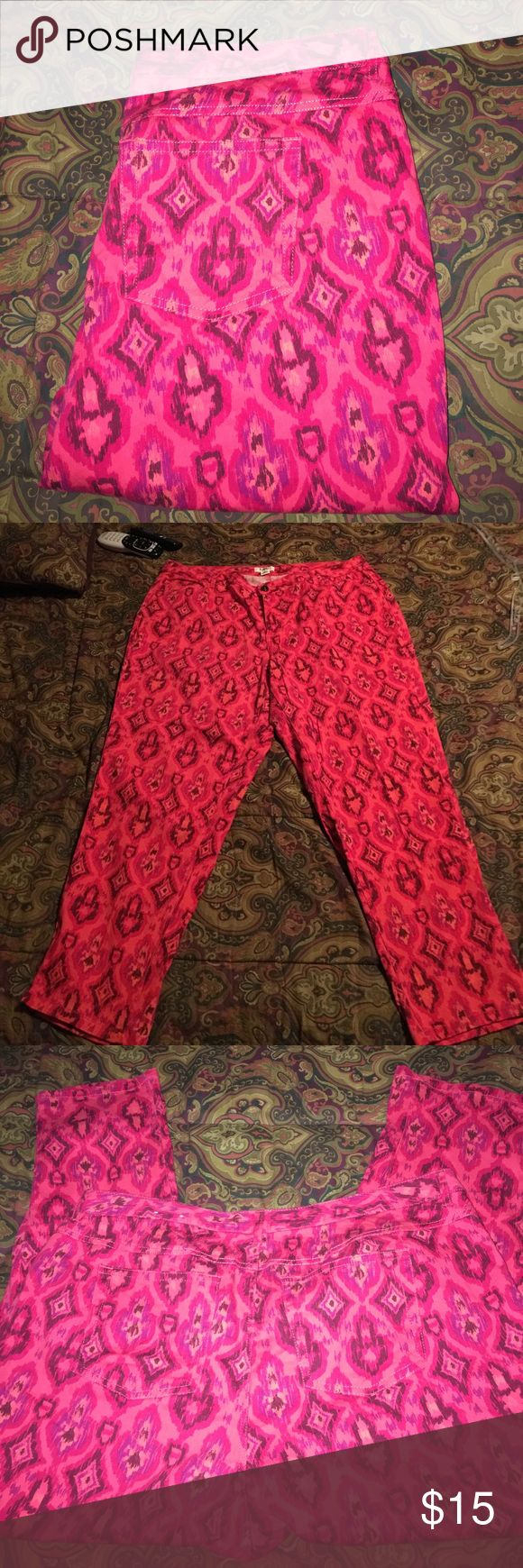 "Lightweight Stretch Ankle Pants By Cato 18W These pants are so comfortable and very unique. The flash on my camera makes them look pink but they are orange and have an Aztec look to them. They measure 18"" side to side at top of waist and inseam is 25"". Rise is 12"". They are in great condition. No rips stains or tears Cato Pants Ankle & Cropped"
