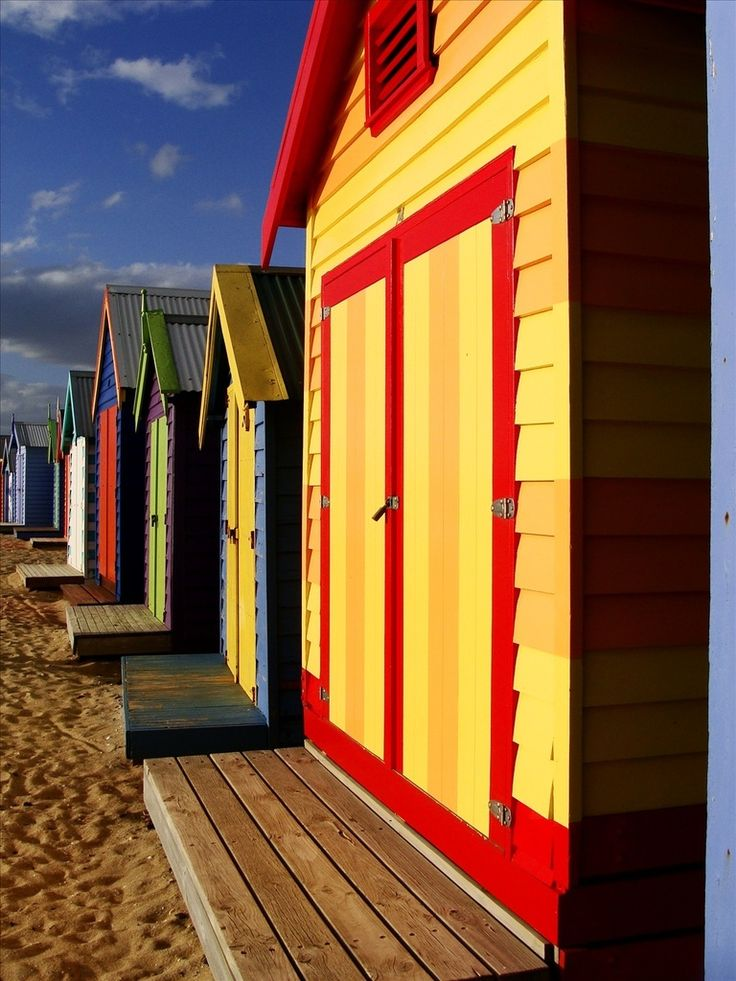 Bathing boxes, Brighton beach, Melbourne Victoria Australia by Elena Martnelli