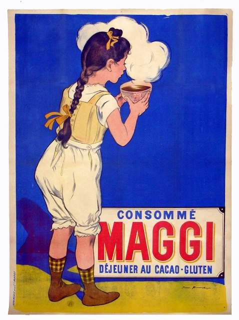 Consommé  maggi  Déjeuner au cacao-gluten  Hey it says Maggie...and Gluten in it :P