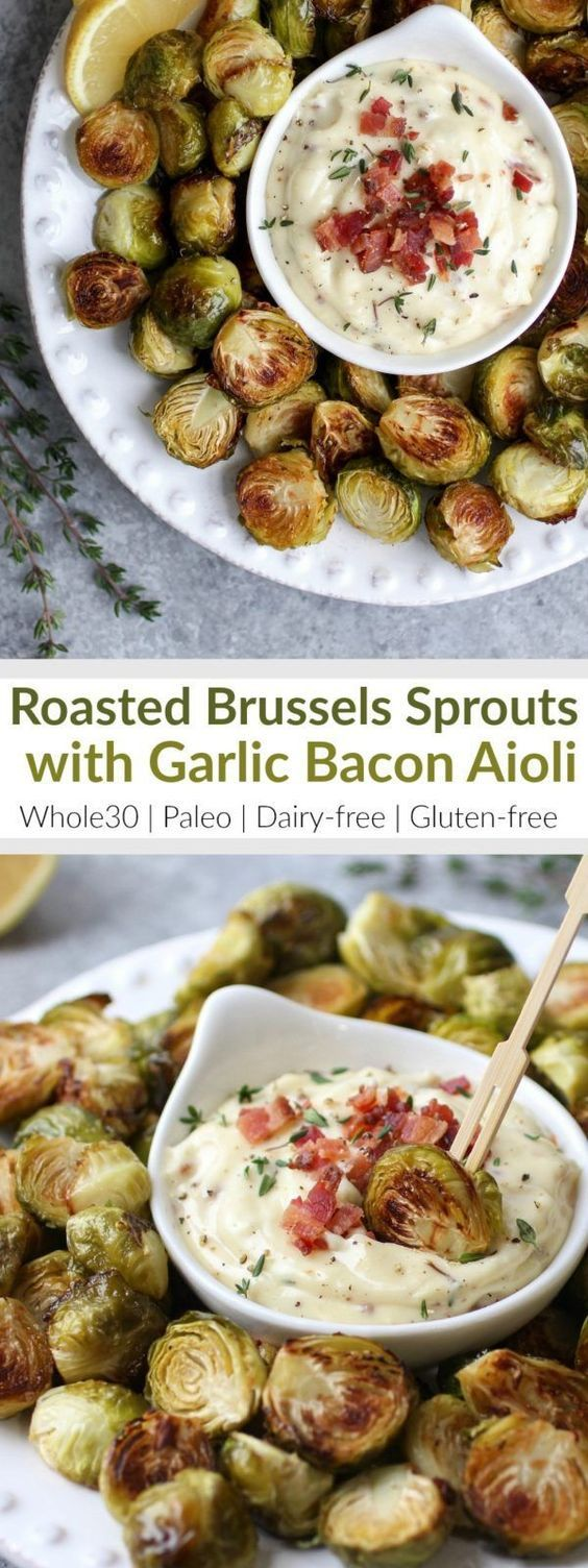 Add these healthy Roasted Brussels Sprouts with Garlic Bacon Aioli to your Holiday party menu or serve them as a delicious Whole30-friendly side-dish   Whole30   Paleo   Dairy-free   Gluten-free   http://therealfoodrds.com