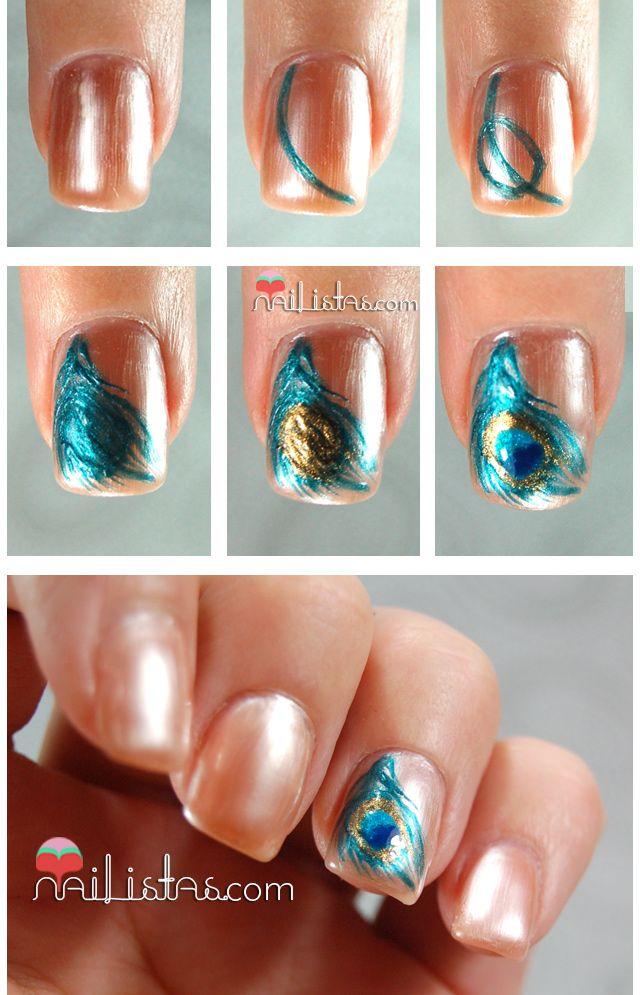 Uñas decoradas paso a paso con plumas de pavo real feature nail peacock design nails