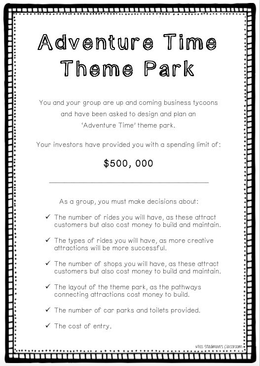 The 'Adventure Time Theme Park' booklet is a fantastic resource for upper primary/middle school students, as it encourages collaboration, problem solving and creativity, as well as fundamental math skills such as addition and multiplication.