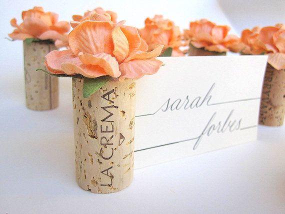 Orange Peach Weddings Table Settings Name by KarasVineyardWedding