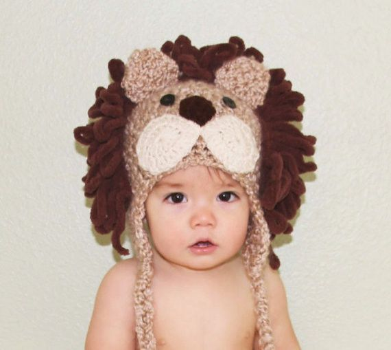 Lion Hat - Halloween Costume - Baby Lion Hat - Baby Hats - Halloween Costume - Cute and Soft Ear flap Part of our NEW Safari Collection - This cute little Lion has been hand crocheted using a soft mul More