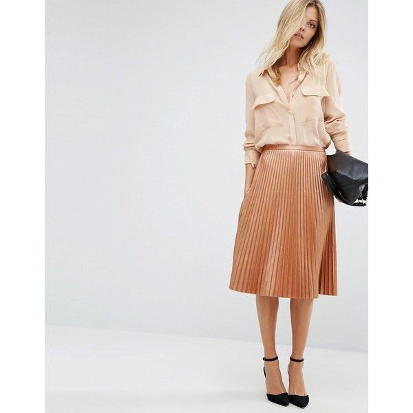 BOSS Orange By Hugo Boss Bronze Pleated Midi Skirt (3.122.150 IDR) ❤ liked on Polyvore featuring skirts, copper, high waisted knee length skirt, high waisted midi skirt, knee length pleated skirt, high waisted pleated skirt and mid calf skirts