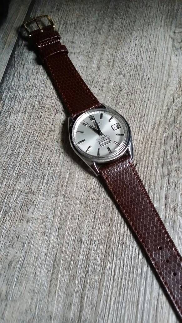 7bab4555a HIRSCH Rainbow a Lizard embossed calf leather watch strap in brown fitted  to a Vintage seikomatic #seiko #seikomatic #vintagewatch #japanesewatch ...