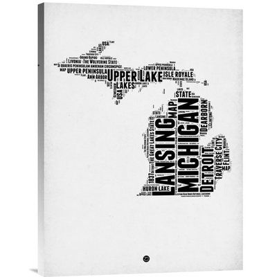 "Naxart 'Michigan Word Cloud 2' Textual Art on Wrapped Canvas Size: 24"" H x 18"" W x 1.5"" D"