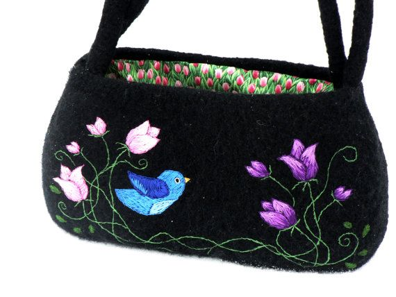 Not jewelry but pinned anyway Gypsy Bag  Knitted Felted Embroidered Black by MuffinTopKnits, $124.00