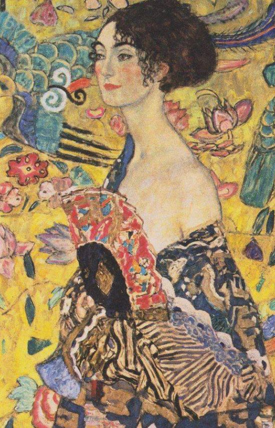 Artist: Gustav Klimt   Austrian symbolist painter  Born: 14 July 1862; Baumgarten, Austria   Died: 06 February 1918; Vienna, Austria   Title: Lady with Fan  Start Date: 1917  Completion Date:1918  Paintings by Style: Japonism, Art Nouveau (Modern)   Period: Late works   Paintings by Genre: portrait   Paintings by Technique: oil   Paintings by Material: canvas   Tags: female-portrait , from Iryna