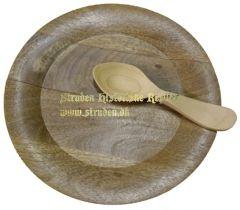 Stor trætallerken med ske.  Ca. 25 cm i omkreds