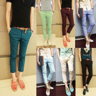 del color sólido,  pantalones de algodón, delgado para los hombres