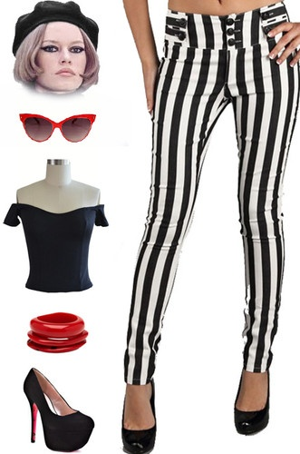 50s Style Beetlejuice Black White Stripe Pinup Skinnies Pants w Button Detail | eBay