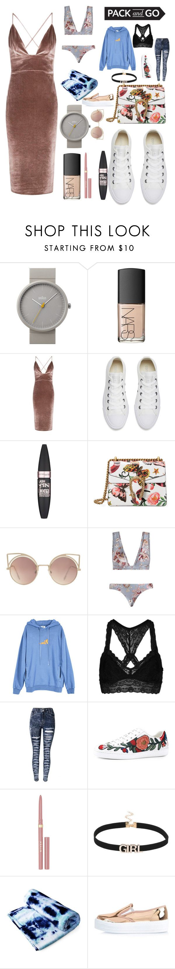"""rode trip"" by walllflowerr ❤ liked on Polyvore featuring Braun, NARS Cosmetics, Boohoo, Converse, Maybelline, Gucci, MANGO, Zimmermann, UNIF and Topshop"