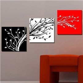 New Arrival Lovely Tree Branches and Leaves Print 3-piece Cross Film Wall Art Prints