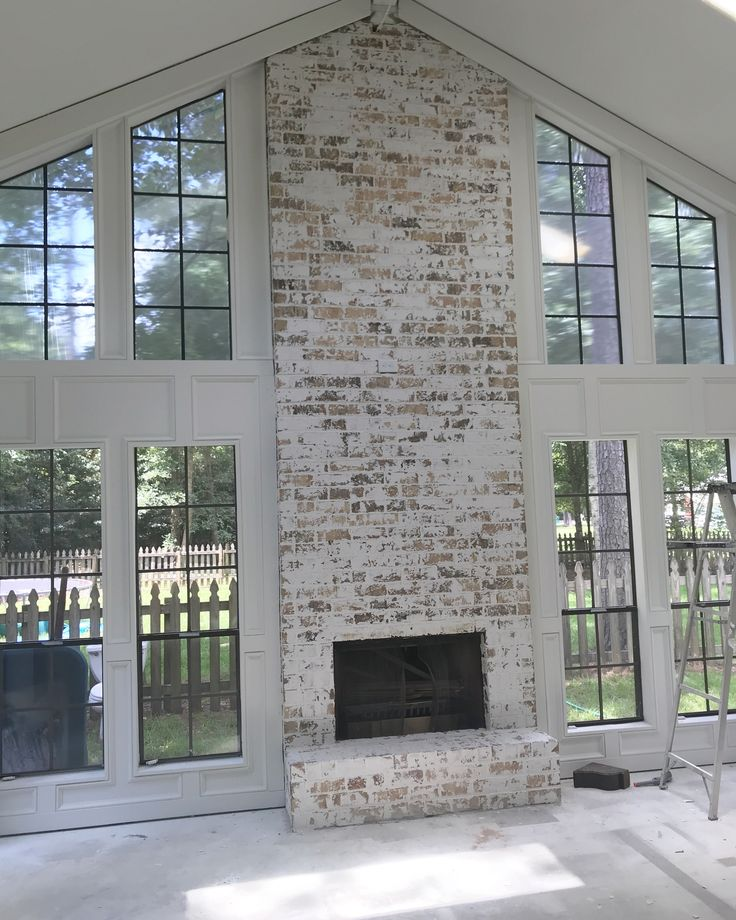 faux german smear fireplace | brick fireplace makeover