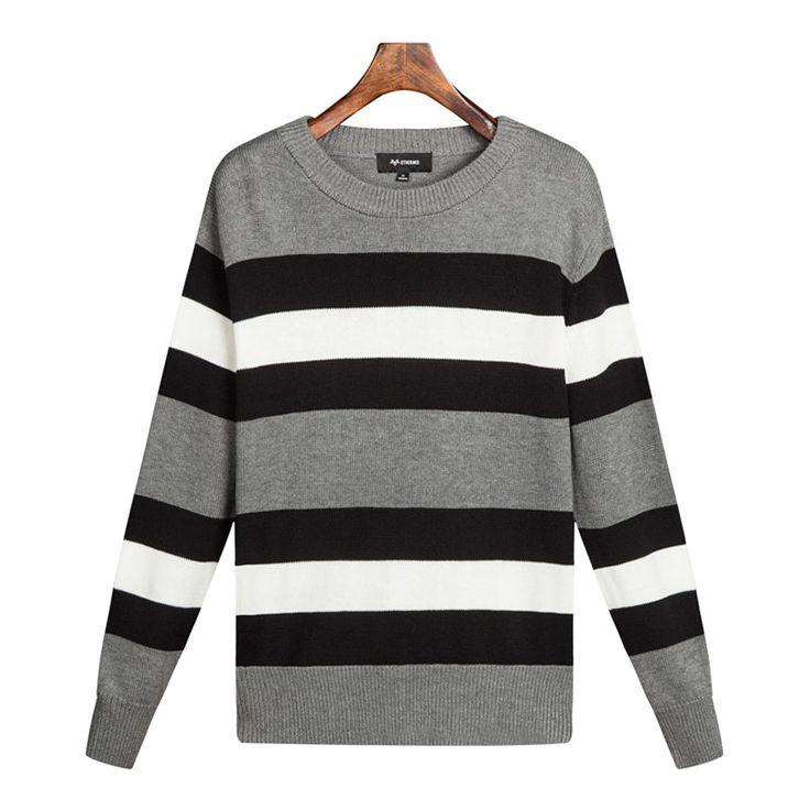 Othermix 2015 осень новый минималистский мода дикий полосатый серый свитер хеджирования женщин гиппокамп купить на AliExpress