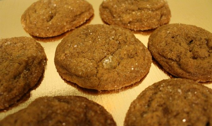 Soft Gingerbread Crackle Cookies with Candied Ginger