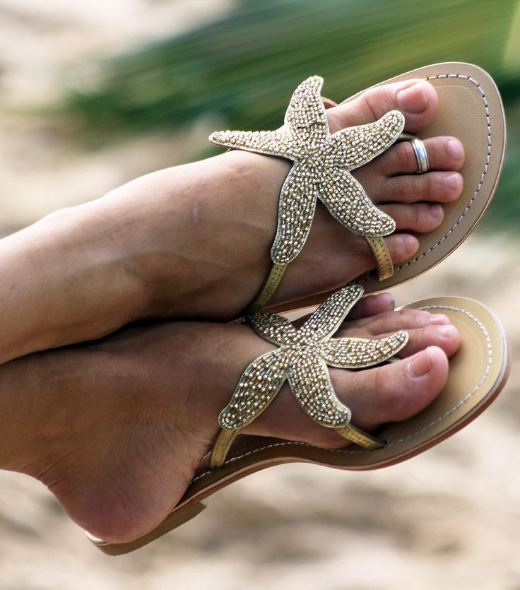 Found them. Starfish sandals. Cute.