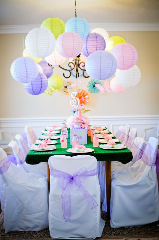 love the lanterns around the light!  Could use balloons under my light for the bubble effect for Under the Sea theme