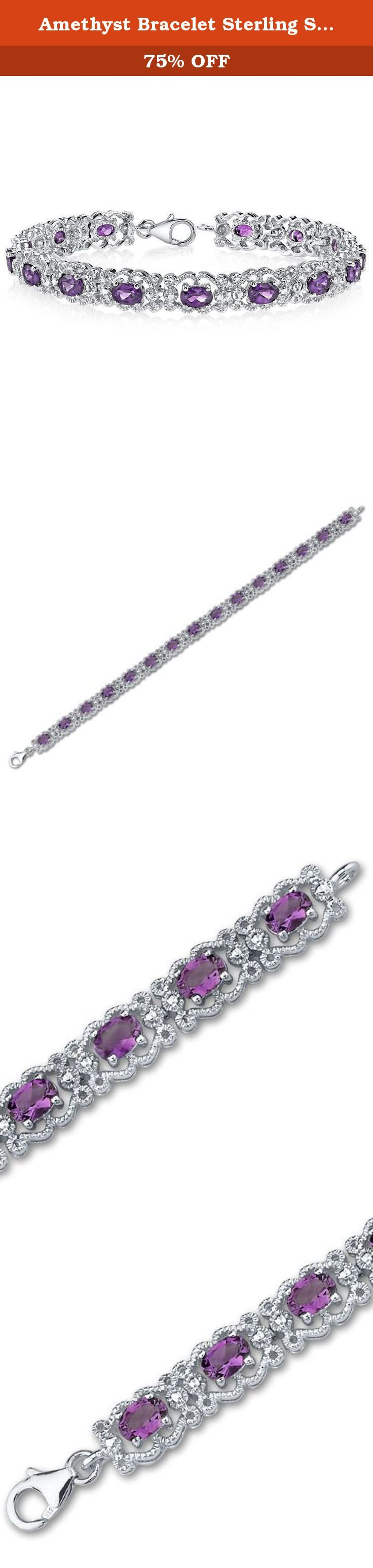 Amethyst Bracelet Sterling Silver 6.00 Carats Vintage Design. 6.00 carats total weight Oval Cut Amethyst Gemstone Bracelet in Sterling Silver Rhodium Nickel Finish Stones: Genuine Amethyst : 15 pieces, Oval Cut 6x4mm, 6.00 carats total weight Gemstones have a deep rich color and tremendous fire. Bracelet: 17.05 grams Pure Sterling Silver Rhodium Nickel Finish with .925 stamp 71/4 length, 3/8 width Approximate Retail Value: $169.99 Bracelet features one of akind design with a beautiful…