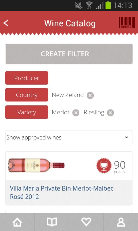 101CORKS wine catalog with active filter