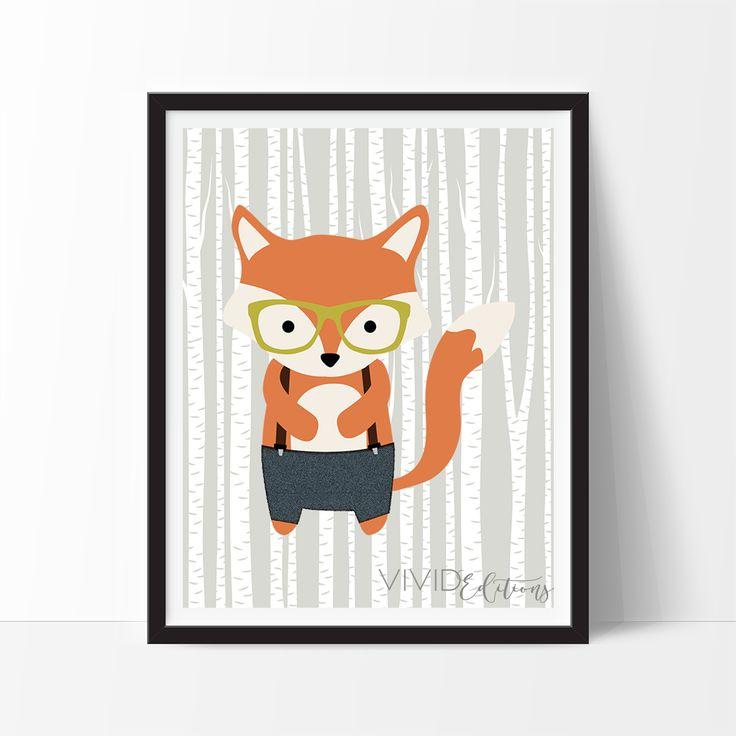 Hipster Woodland Fox Art Print, Nursery Decor by VividEditions.com