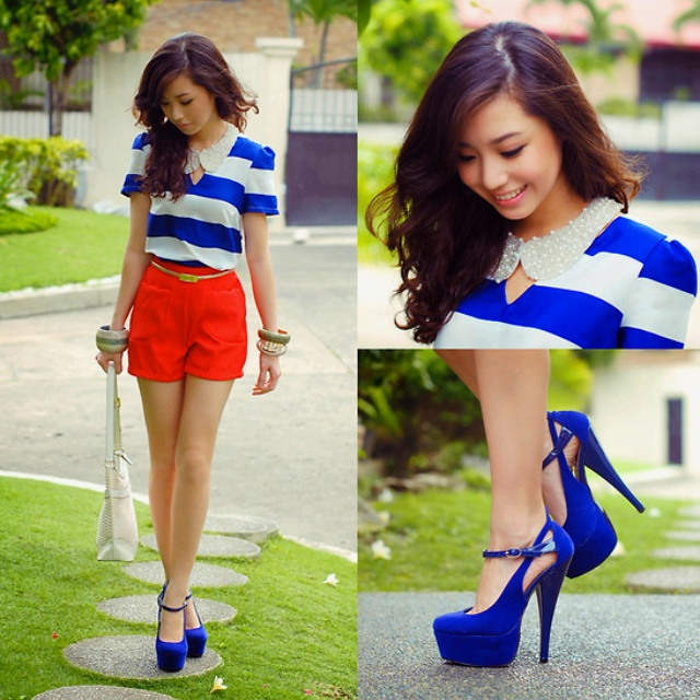 Love this: Shoes, Outfits, Fashion, Style, Clothes, Blue, Dress, Collar