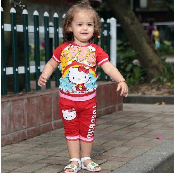Девочки короткая рукавами hello kitty T - рубашки + брюки комплект два частей дети младенцы костюм девочка костюм 4 комплект / много