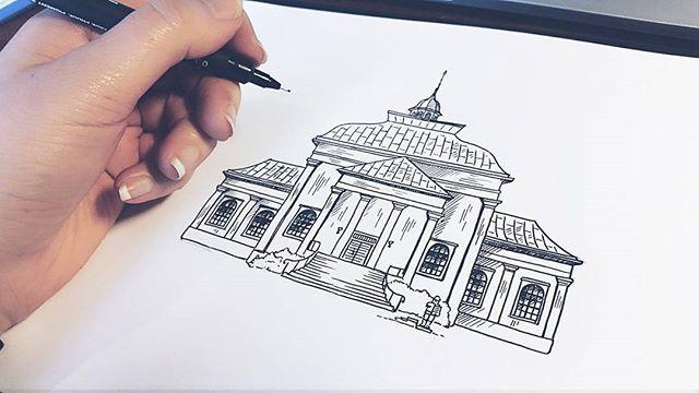 Inktober Dag 12 Amiralitetskyrkan i #karlskrona. En vacker träkyrka, byggd på 1600-talet och listad på Unescos världsarvslista.  #sketch #sketching #göteborg #gothenburg #artist #illustrate #illustrator #art #artwork #print #doodle #doodling #architecture #sweden #målning #rita #teckning #teckna #måla #sketchbook #skiss #ink #inktober2016 #inktober #church