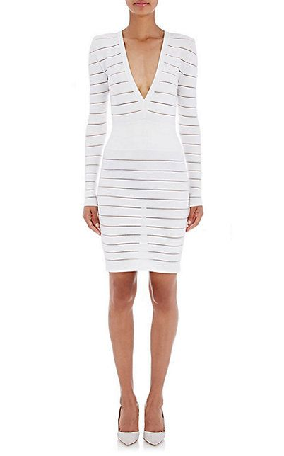 Balmain Rib-Knit & Mesh Dress - Short - Barneys.com