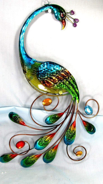 Peacock wall decor metal - Peacock Metal And Glass Wall Hanging Art Teal Home Decor
