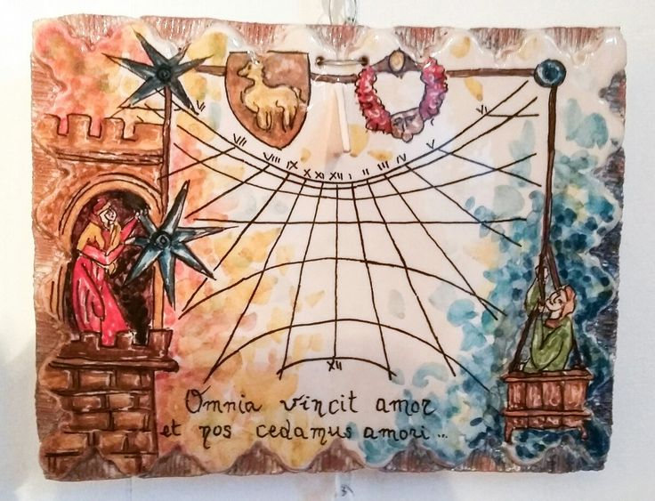 Meridiana solare verticale ~ Giardini Naxos ~ Sicilia ~ ceramica artistica siciliana Bluarte ~ Amore Cortese  #sundial #méridien