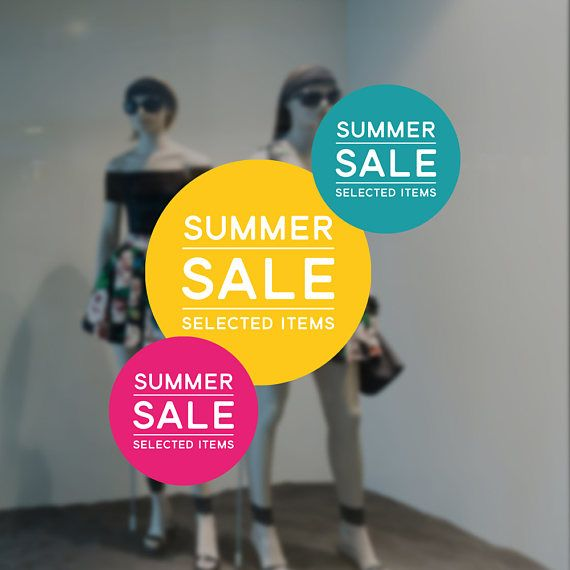 Summer sale retail display sign removable vinyl decal seasonal shop window sticker summer