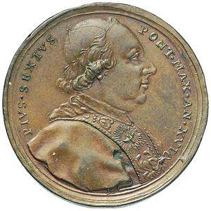 Artemide Aste - Asta XXVI: 1272 - Pio VI. Medaglia 1790 per la città di Treja - Dea Moneta