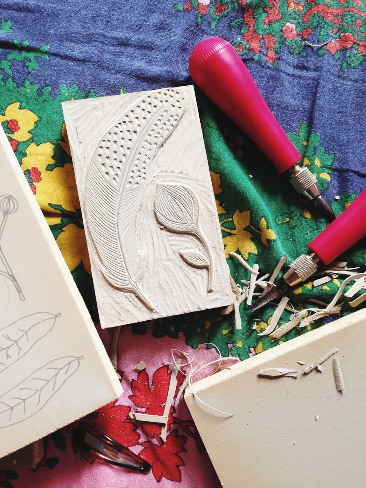 Natural collection in progress linocut by nwpb craft