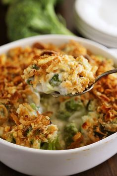 Broccoli Cheddar Gratin with Crispy Onions – Classic, easy broccoli and cheddar casserole topped with crushed croutons and crispy fried onions. Thecomfortofcooking.com