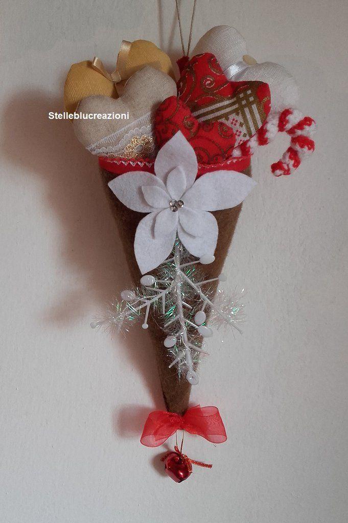 Stella Di Natale Bianca.Decorazione Natalizia A Cono Marrone Stella Di Natale Bianca E
