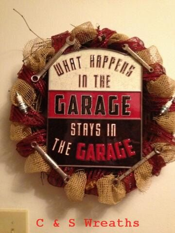 Garage Wreath Man Cave Burlap Tool Wreath by CandSWreaths on Etsy, $50.00