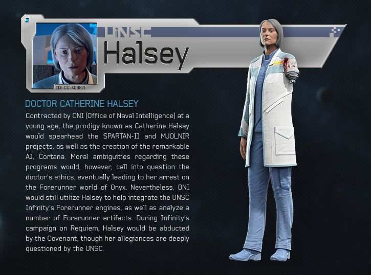 Doctor Catherine Halsey - she's lost an arm!