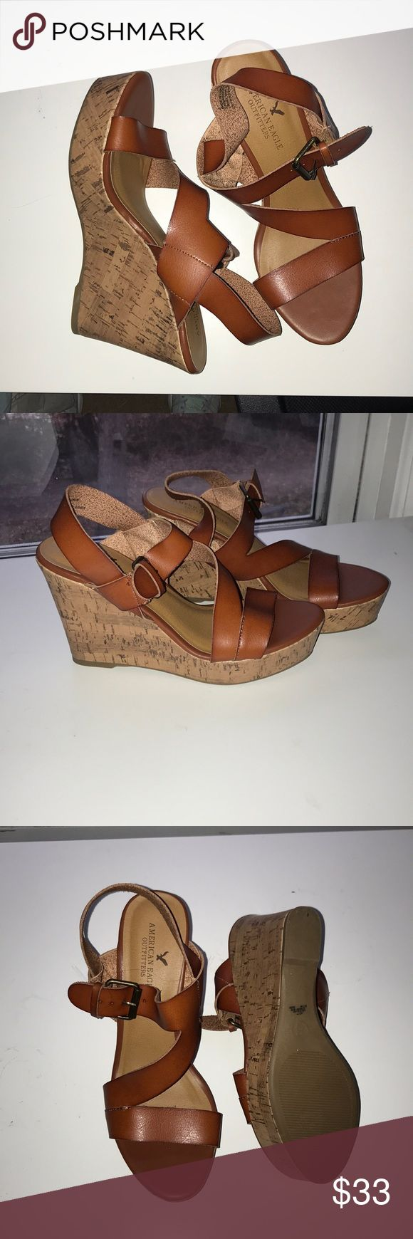 NTW american eagle buckle wedge sandals tan/red ish color bucket to adjust size size 9 never worn and still have online order packaging  super comfortable and easy to walk in perfect with jeans or dressed up  AEO strapping buckle wedges American Eagle Outfitters Shoes Wedges