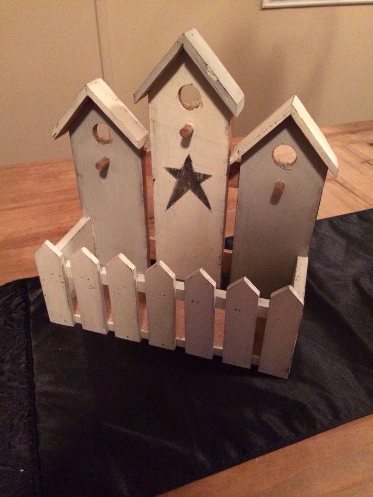 After- chalk painted Woden bird house decor with stencil
