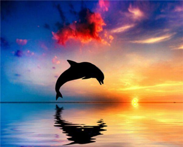 Закат dolphine алмазный крест живопись сшить полный квадрат дрель горный хрусталь алмазов мозаика стикер стены Украшения комнаты