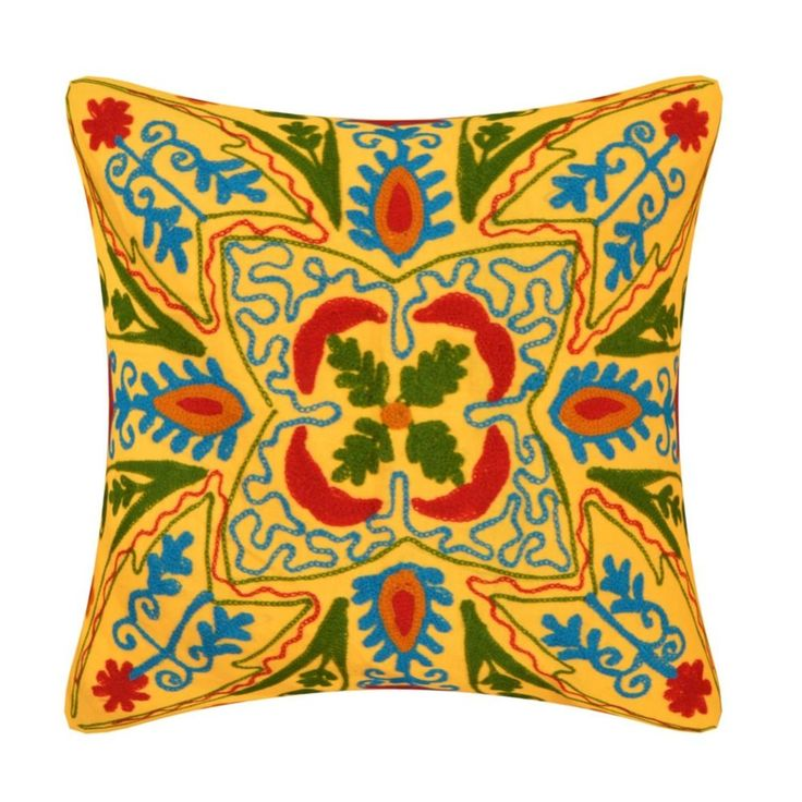 Indian Handmade SUZANI cushion cover pillow cover Multi Color Embroidered pillow #Handmade
