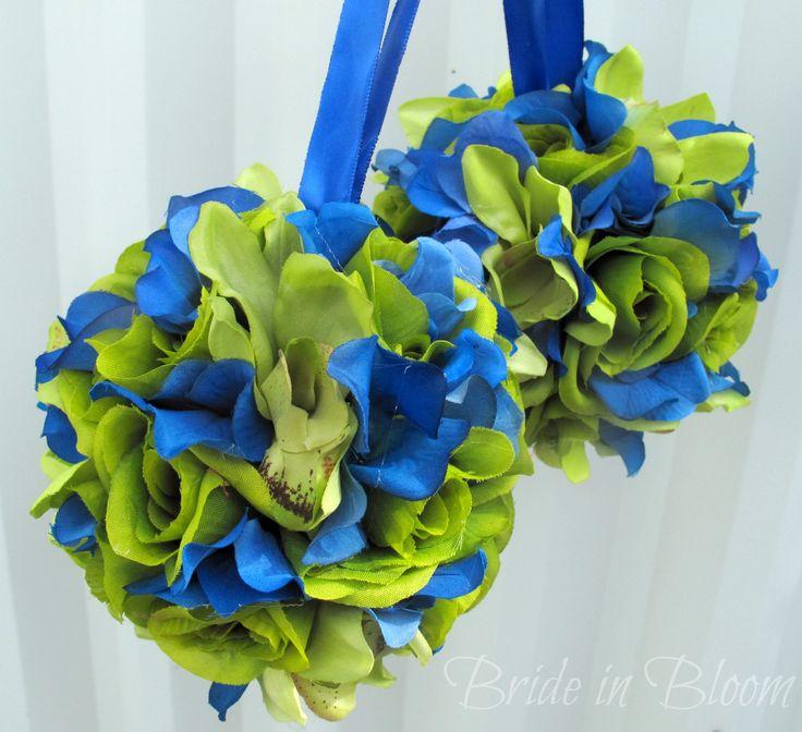 blue and green wedding   ... balls green royal blue wedding bouquet wedding flower ball decoration