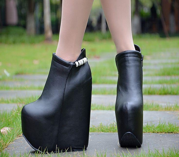 (47.62$)  Watch here  - 2016 Autumn 17cm Winter Artificial Short Plush Platform High Heels Ankle Boots Shoes Wedges Online Shop Women Booties Black Red