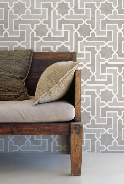Very pretty Moroccan stencil design by Royal Design Studio, originally made for my house & guesthouse in Marrakech, called Peacock Pavilions.  Done in a neutral palette. This stencil now can be purchased from Royal Design Studio. You can learn more about Moroccan decor in my book, Marrakesh by Design: http://www.amazon.com
