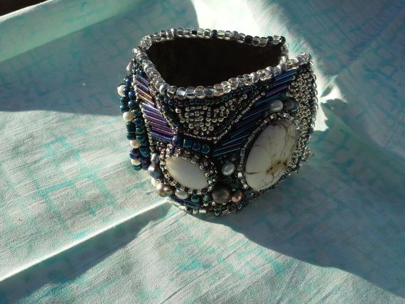 Black and White beaded cuff
